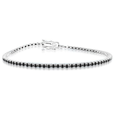 Black Beauty - Delicate Onyx bracelet to subtly fit on your wrist 6.75 inch. 2 Cts. T.W. in Platinum Plated Sterling Silver.