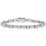 Beautiful Designer Bracelet, with Diamond Essence princess cut masterpieces linked interstigly with cusp of round accent in ethnic looks. Appx. 7 cts.t.w. in Platinum Plated Sterling Silver.
