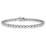 Platinum Plated Sterling Silver bracelet. Round brilliant stones set in prongs and 'S' bars setting. Appx. 6.0 cts.t.w.  A perfect tennis bracelet for party or casual wear.