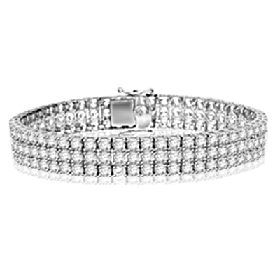 A majestic looking bracelet showing off three rows of Diamond Essence round brilliant masterpieces, 16.0 cts.t.w. in Platinum Plated Sterling Silver.