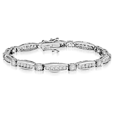Elegant designer bracelet. Diamond Essence 0.5 ct. stones set in four prongs setting, between tension set melee. 7.0 cts.t.w. in Platinum Plated Sterling Silver.