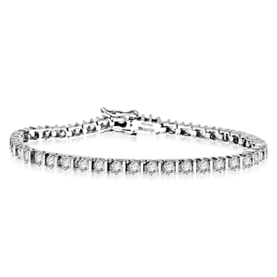 "Platinum Plated Sterling Silver 7"" bracelet with striking bar design and 40 Diamond Essence stones, 4.2 cts. t.w., with safety clasp."