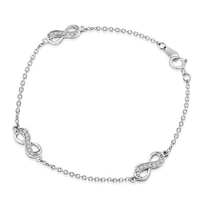 "Infinity Bracelet with 0.20 ct. Round Brilliant Diamond Essece Round Stones. 7"" Length, Platinum Plated Sterling Silver."