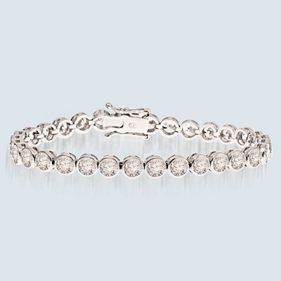 7 Inches Bracelet with delirious bezel set round Diamond Essence Masterpieces forming 5.60 Cts. T.W.
