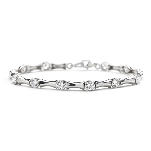7 Inches Bamboo Bracelet with 14 Diamond Essence Masterpieces Glittering in unique prong and link setting. 3.50 Cts. T.W. Match it with the Bambooty Necklace.