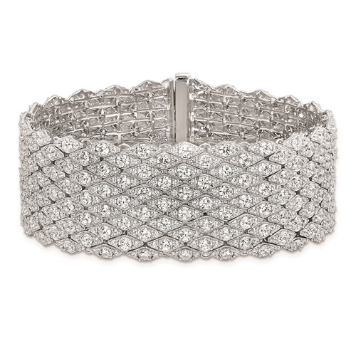 Designer Mesh Bracelet With Diamond Essence Round Brilliant And Melee In Platinum Plated Sterling Silver.