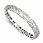 Diamond Essence Bangle Bracelet with Pave Set Round Brilliant Melee - SBQ667