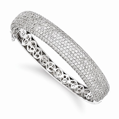Diamond Essence Bangle Bracelet with Pave Set Round Brilliant Melee - SBQ668