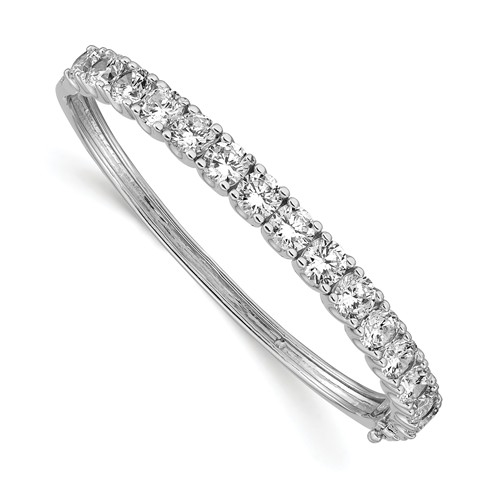 Diamond Essence Hinged Bangle Bracelet in Prong Settings. 15.0 Cts..t.w. in Platinum Plated Sterling Silver. Shine your Holidays with this beautiful piece.