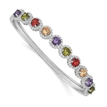Diamond Essence Multi Color Hinged Bangle Bracelet with magnetic clasp.4.20 Cts.t.w in Platinum Plated Sterling Silver. Perfect for Holiday gifts.