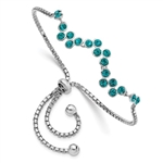 Diamond Essence Blue Stone Adjustable strand Bracelet, set in bezel setting of Platinum Plated Sterling Silver, 4.0 Cts.t.w.
