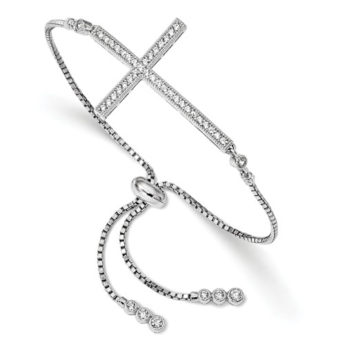 Diamond Essence Sideways Cross Adjustable Bracelet, 1.0 Ct.t.w. in Platinum Plated Sterling Silver.