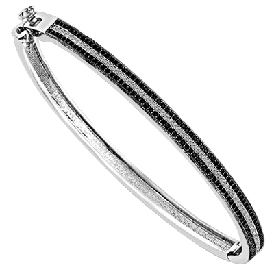 Bracelet Bangle with  three rows of  Round cut Ember Essence and  Diamond Essence, 2.25 Cts.T.W. set in Platinum Plated Sterling Silver.