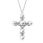 Cross Pendant with Diamond Essence Marquise and Round Melee, set around Pearls, in Platinum Plated Sterling Silver. Chain included.