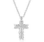 Cross Pendant in Platinum Plated Sterling Silver with Round Diamond Essence, 2.0 Cts. T.W.