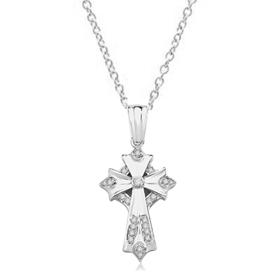 Cross Pendant with Round Diamond Essence 1.80 Cts. T. W. in Platinum Plated Sterling Silver.