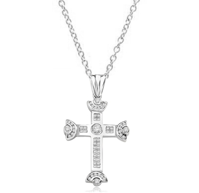 Cross Pendant with Princess cut Diamond Essence and Round Diamond Essence 6.0 Cts. T. W. in Platinum Plated Sterling Silver.