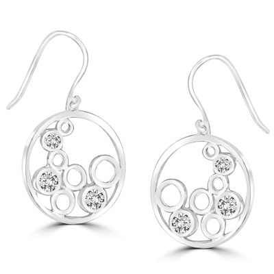 0.74ct Diamond earring with open-cut in sterling silver