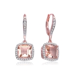 Diamond Essence Drop Lever Back Earrings With Asscher Cut Morganite Escorted By Melee And Melee On The Bail Enhance the Beauty, 5 Cts.T.W. In Rose Plating Over Sterling Silver.