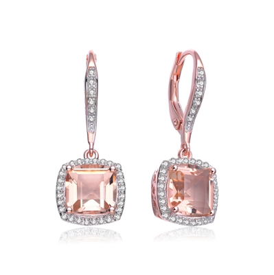 Diamond Essence Drop Lever Back Earrings With Cushion Cut Morganite Escorted By Melee And Melee On The Bail Enhance the Beauty, 5 Cts.T.W. In Rose Plating Over Sterling Silver.