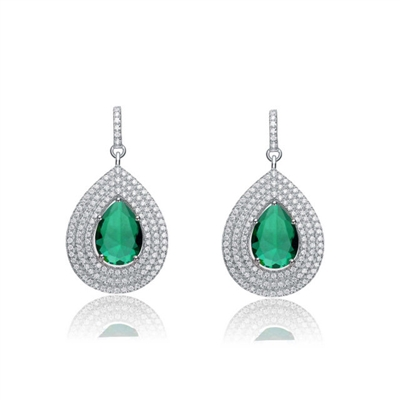 Diamond Essence Designer Earrings With Emerald Essence Pear Center Surrounded By 3 Rows Of Melee In Steps And Melee On The Bail Enhance The Look, 4 Cts.T.W. In Platinum Plated Sterling Silver.