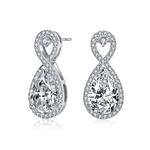 Diamond Essence Designer Infinite Earrings With Pear Essence And Brilliant Melee, 6.0 Cts.T.W.in Platinum Plated Sterling Silver. 9mm W x 20mm L.
