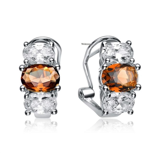 Diamond Essence Designer Earrings with Oval cut Chocolate and Brilliant Stones, 3.25 cts.t.w. - SEC1251CT