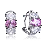 Diamond Essence Designer Earrings with Oval cut Pink and Brilliant Stones, 3.25 cts.t.w. - SEC1251P