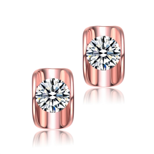 Diamond Essence 1.50 Cts. each, Round Brilliant Stone Set in Rose Plated Sterling Silver, Artistically Curved Tension Setting, 3.0 Cts. T.W.