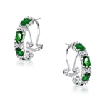 Diamond Essence Half Hoop with Oval cut Emerald Stones and Round Brilliant Melee, 4.0 cts.t.w. - SEC2026E