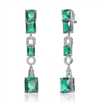 Stand Out - Designer Earrings with Princess cut and Emerald cut Emerald Essence set in four prongs with Melee set artistic designs in between which adds more sparkles and makes it outstanding, 27.0 Cts.T.W. set in Platinum Plated Sterling Silver.