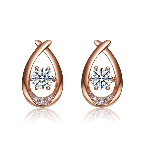 Diamond Essence Rose plated over Sterling Silver Designer Earring, 2,0 Cts.t.w.