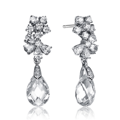 Designer Drop Earrings With Diamond Essence Round Brilliant And Pear Cut stone forming a Floral Design, French Cut Pear Dangle enhance the Beauty, 8 Cts.T.W. in Platinum Plated Sterling Silver.