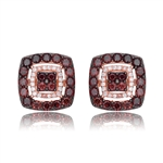 Diamond Essence Rose Plated Square Stud Earrings with Diamond And Chocolate Essence Stones, 4 Cts.T.W.