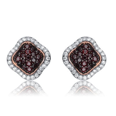 Diamond Essence Platinum Plated Spade Stud Earrings with Diamond And Chocolate Stones, 3 Cts.T.W.