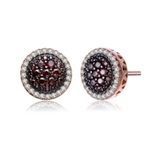 Diamond Essence Earrings with Diamond And Chocolate stones, 3 Cts.T.W. in Rose Plated Sterling Silver.
