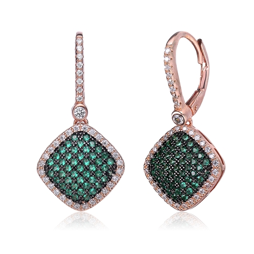 Diamond Essence Leverback earrings with Emerald Essence melee in pave setting, outlined with Diamond Essence melee, 1.5 Cts.T.W in Rose Plated Sterling Silver.