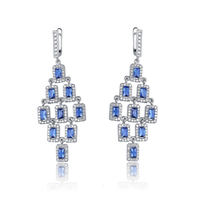 Diamond Essence Earrings with Radiant cut Sapphire surrounded by Round Brilliant Melee, 10.0 cts.t.w. - SEC2652S