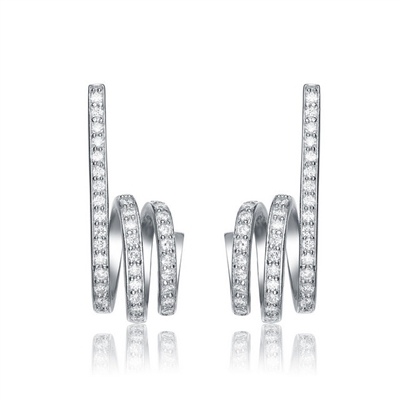 Twists - Diamond Essence Designer Earrings with 1.0 Ct. T.W. of sparkling Melee set delicately on twisted Platinum Plated Sterling Silver setting.