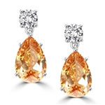 Diamond Essence Tear Drop Earrings with Pear cut Champagne and Round Brilliant Stones, 12.0 cts.t.w. -  SEC302CH