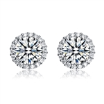 Diamond Essence Halo Setting Platinum Plated Sterling Silver Earrings, with 1 Ct. each Round Brilliant Center surrounded by Brilliant Melee, 2.25 Cts.T.W.