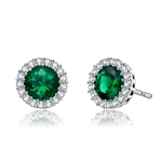 Diamond Essence Halo Setting Platinum Plated Sterling Silver Earrings, with 1 Ct. each Emerald Essence surrounded  by Brilliant Melee, 2.25 Cts.T.W.