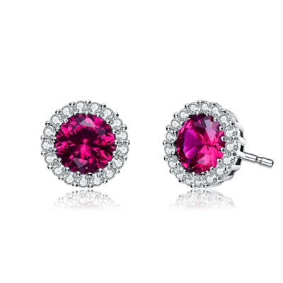 Diamond Essence Halo Setting Platinum Plated Sterling Silver Earrings, with 1 Ct. each Ruby Essence surrounded  by Brilliant Melee, 2.25 Cts.T.W.