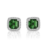 Diamond Essence Designer Stud Earrings with Asscher cut Emerald and Round Brilliant Melee 3.0 cts.t.w. - SEC3048E