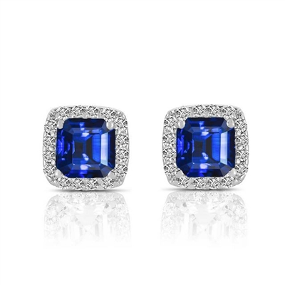 Designer Stud Earrings. One carat Sapphire Essence Asscher cut stone in four prongs setting and surrounded by Diamond Essence melee. 3.0 cts.t.w. in Platinum Plated Sterling Silver.