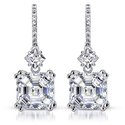 Diamond Essence Drop Earrings With Asscher Cut Stone,7 Cts.T.W. in Platinum Plated Sterling Silver.