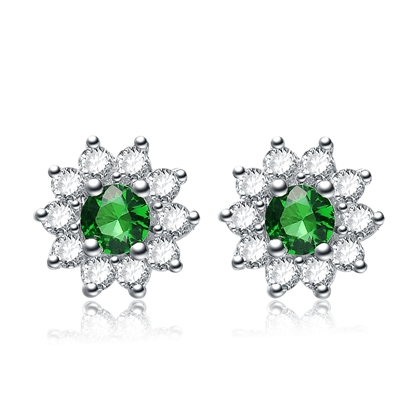 Prong Set Floral Studs with Simulated Round Cut Emerald and Brilliant Melee Diamonds by Diamond Essence set in Sterling Silver
