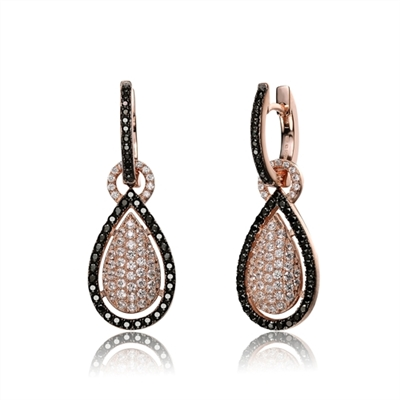Beautiful Drop Earrings. Diamond Essence Round brilliant melee set in pear shape setting and outlined with Onyx Essence melee. Hanging through a round bail, inserted in small hoop of onyx melee. 3.5 cts.t.w. in Rose Plated Sterling Silver.