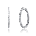 IN AND OUT . 2 '' Extra large hoop earrings, Diamond Essence round melee set  in Platinum Plated Sterling Silver. 5.0 cts.t.w.
