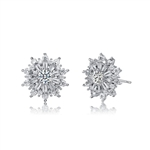 Diamond Essence Designer Studs With Round Brilliant Stones And Baguettes, 1.70 Cts.T.W. in Platinum Plated Sterling Silver.